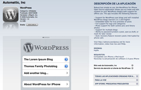 Wordpress en la App Store