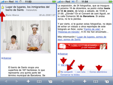 Google Reader en el iPhone
