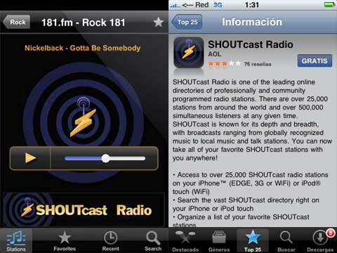 shoutcast en el iphone