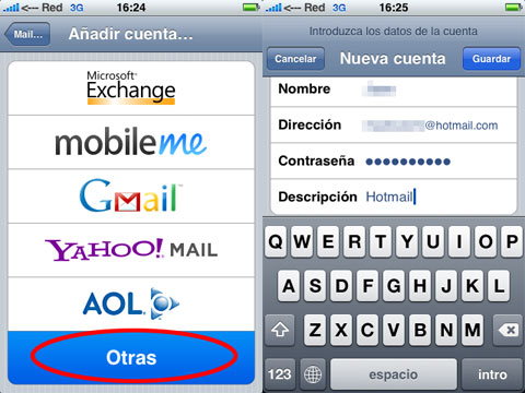 Configuración Hotmail en el iPhone