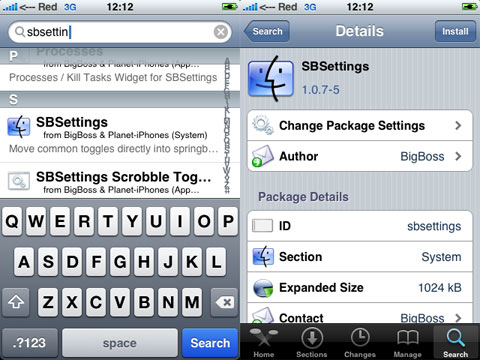 SBSettings en Cydia