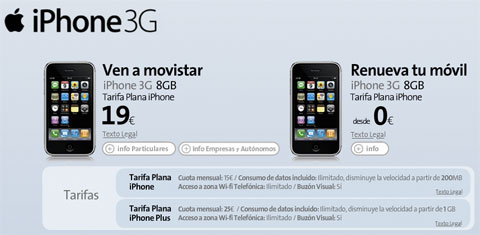 iPhone 3G de 8Gb de Movistar a 19€