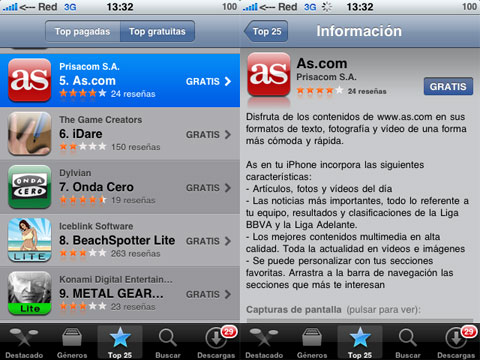 As en el iPhone