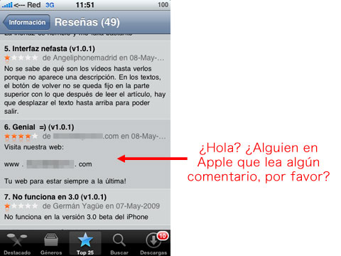 Spam en la App Store de Apple