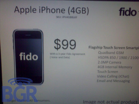 iPhone 4Gb de Fido - rumor