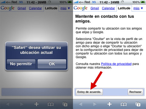 Google Latitude en el iPhone