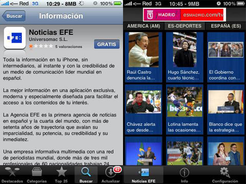 Agencia EFE en el iPhone