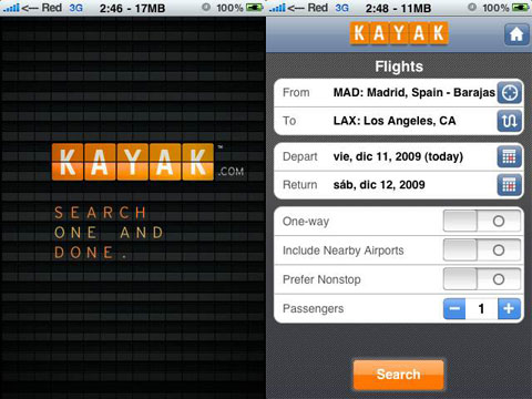 Kayak en el iPhone