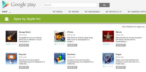 Apps de Apple en Google Play