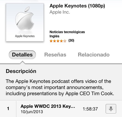Podcast de keynotes en HD de Apple