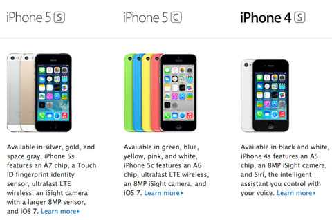 iPhone 4S en la página comparativa de Apple