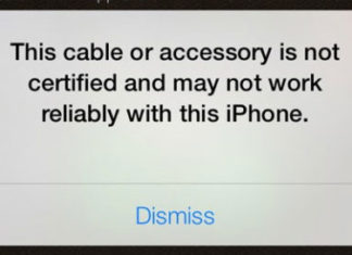 Mensaje que sale con un cable no certificado por Apple