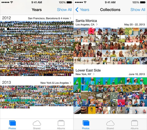 App de Fotos de iOS 7