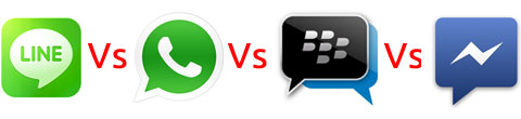 LINE, Whatsapp, BlackBerry Messenger y Facebook Messenger