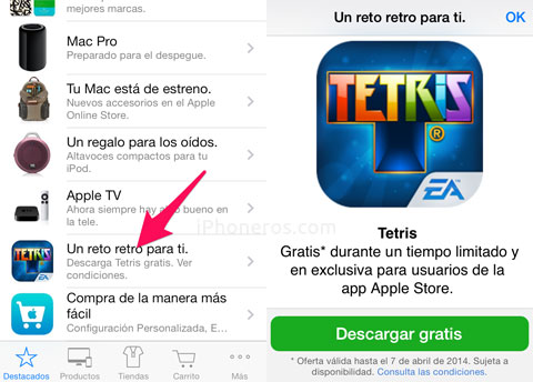 Tetris regalado en la Apple Store