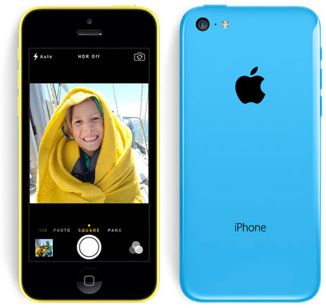 iPhone 5C azul y amarillo