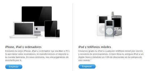 Reciclaje en la web de Apple