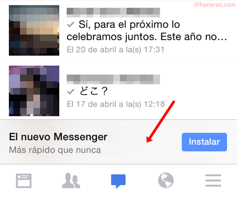 Facebook pidiendo instalar el Facebook Messenger