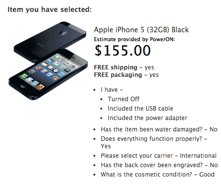 iPhone 5S negro de 32 GB valorado en 155 USD
