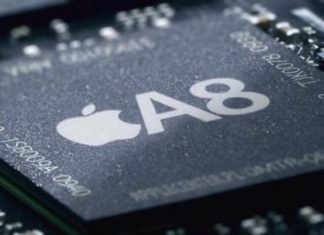 SoC (CPU con GPU y RAM) A8 de Apple