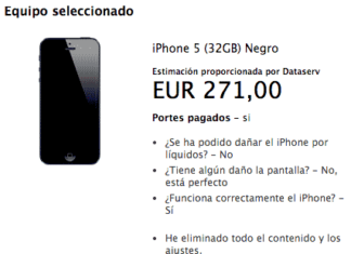 iPhone 5 de 32 GB valorado en 271€