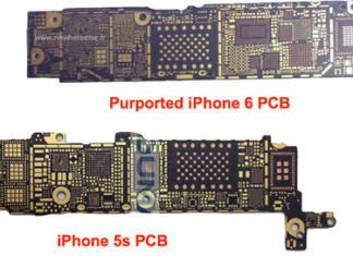 Supuesta placa base del iPhone 6 comparada con la del iPhone 5S