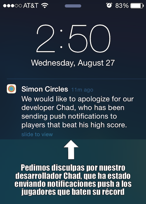 Notificación de Simon Circles