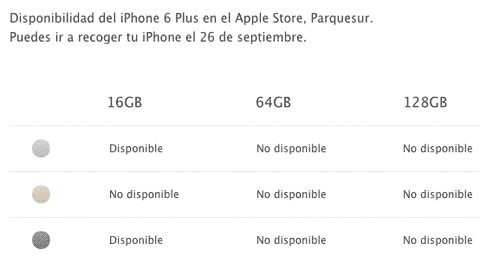 Disponibilidad del iPhone 6 Plus en Parque Sur