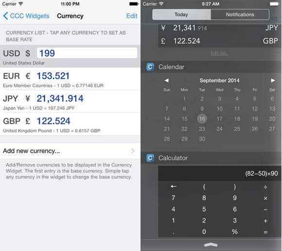 Widgets - Calculator, Currency and Calendar