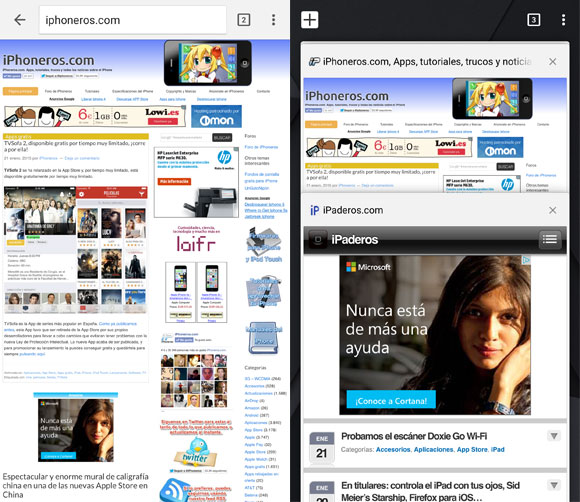 Chrome para iPhone con Material Design