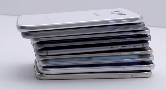 iPhone 6 en medio de muchos Galaxy S6