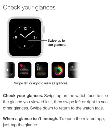 Información sobre los Glances del Apple Watch