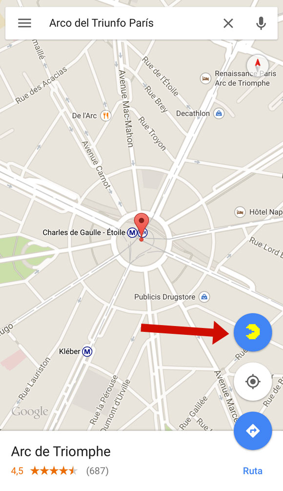 PAC-MAN en Google Maps