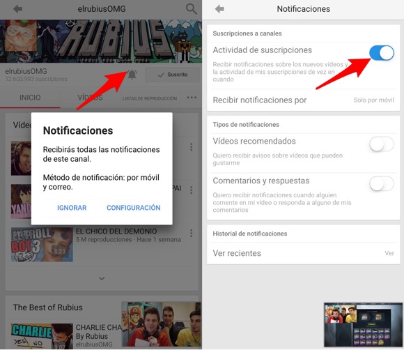 Preferencias notificaciones YouTube