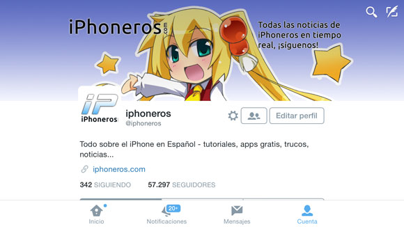 App de Twitter en modo horizontal en el iPhone 6 Plus
