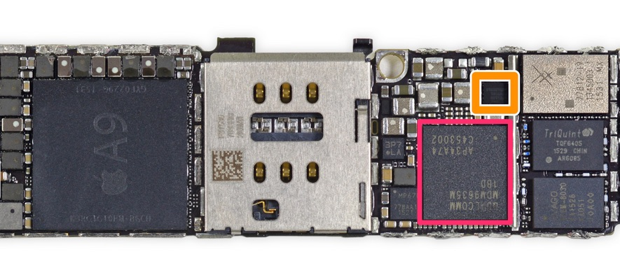 Módem Quallcomm en la placa base del iPhone 6S