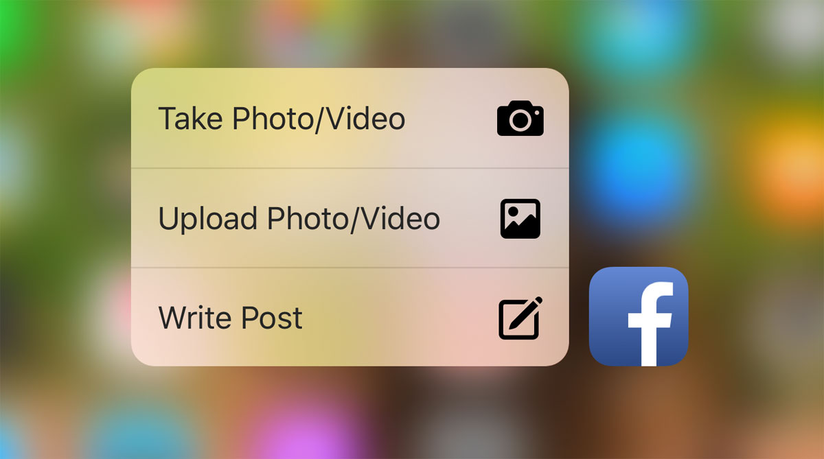 Quick Actions de Facebook con 3D Touch