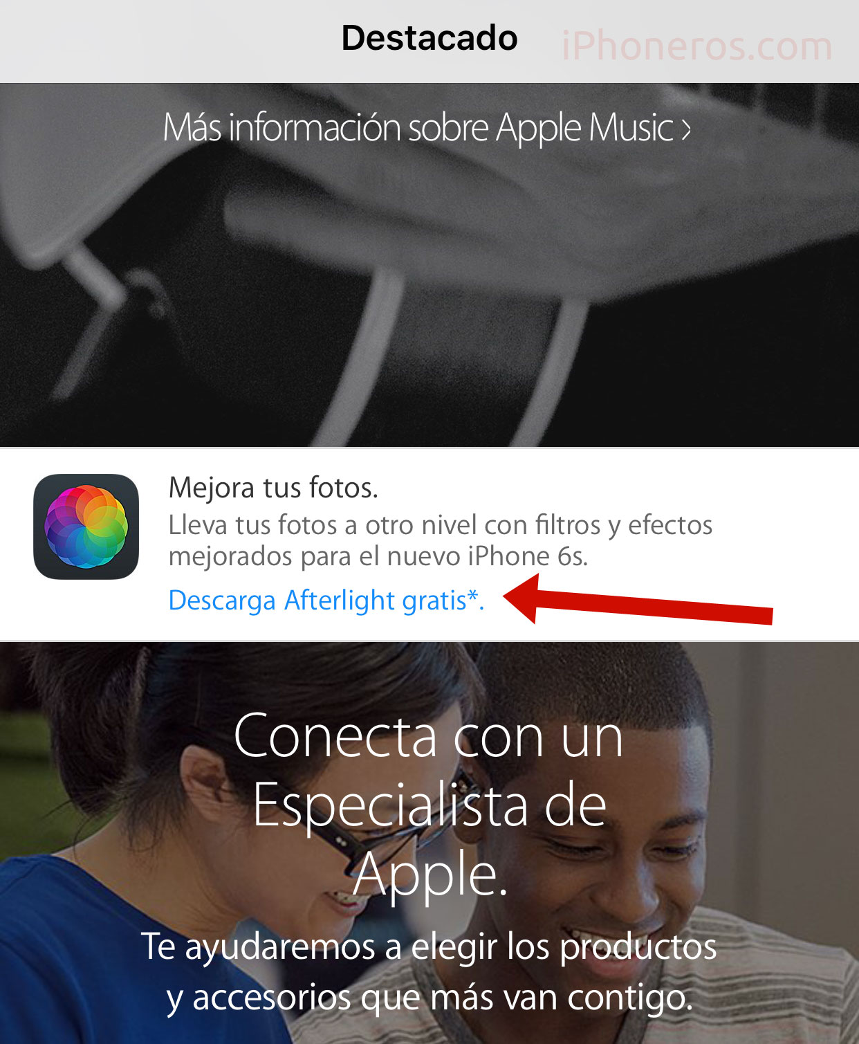 Afterlight en la App de la Apple Store