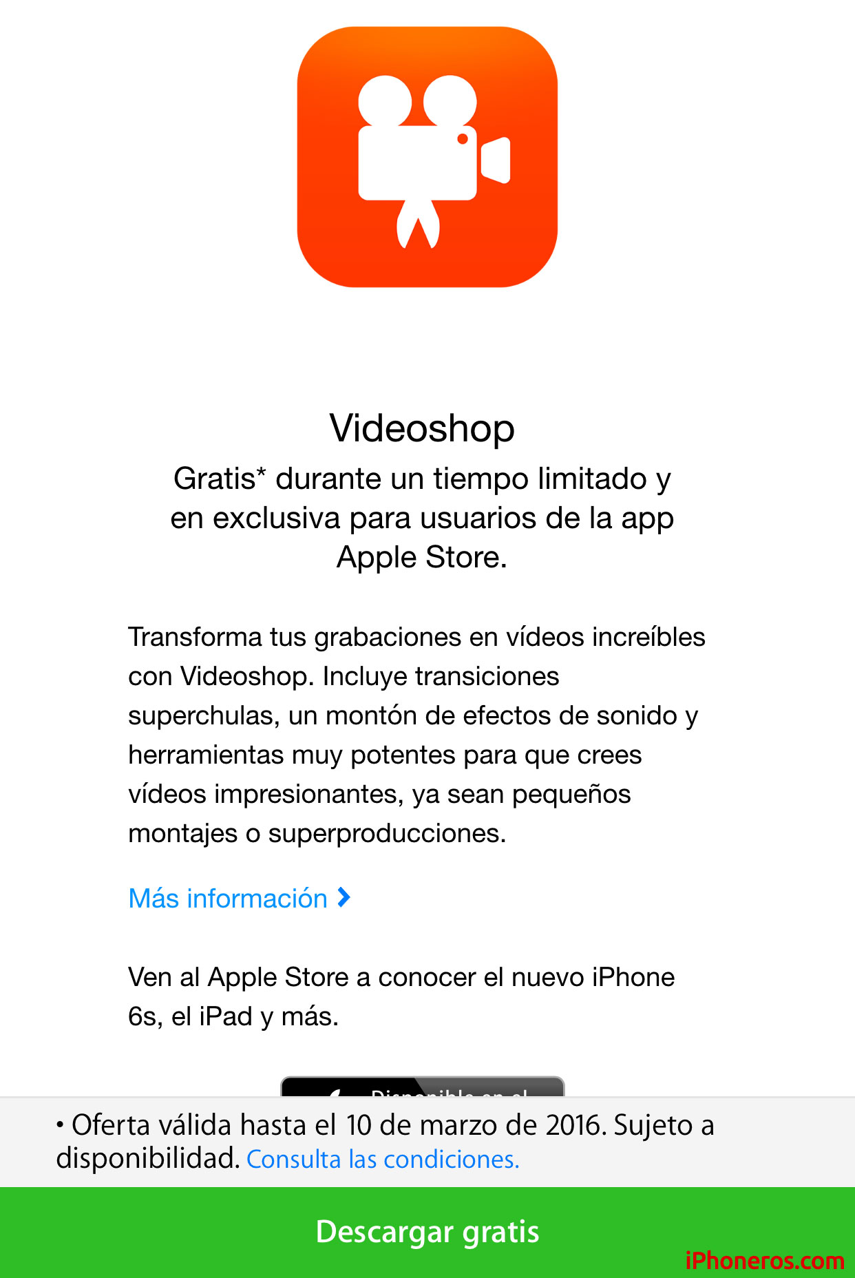 Videoshop gratis en la Apple Store