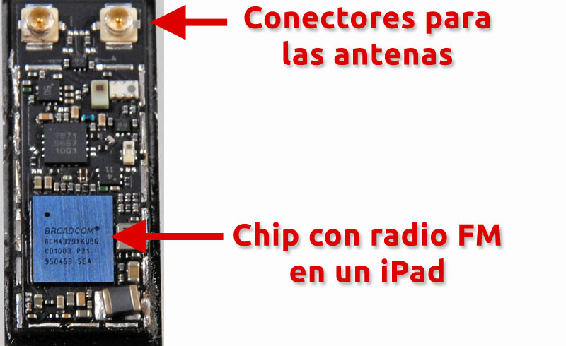 Chip Broadcom BCM4349 con radio FM en un iPad