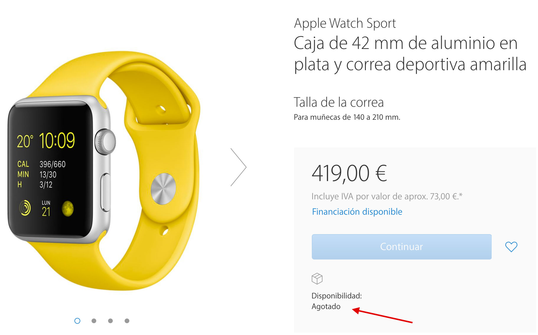 Apple Watch Sport agotado