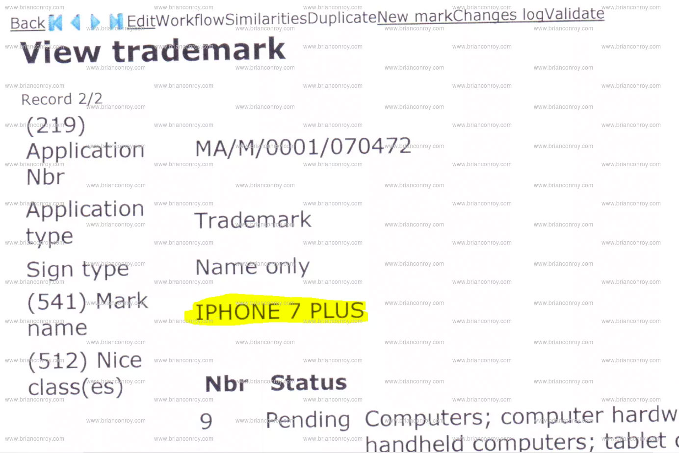 Registro de marca iPhone 7 Plus