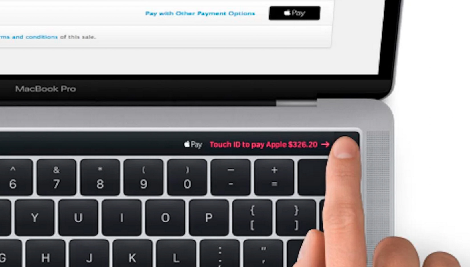 Pantalla Magic Toolbar mostrando un pago de Apple Pay
