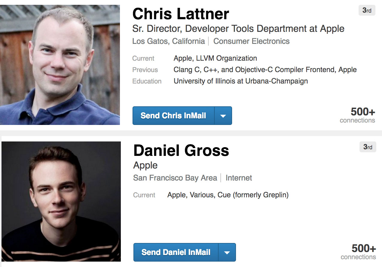 Daniel Gross y Chris Lattner en LinkedIn