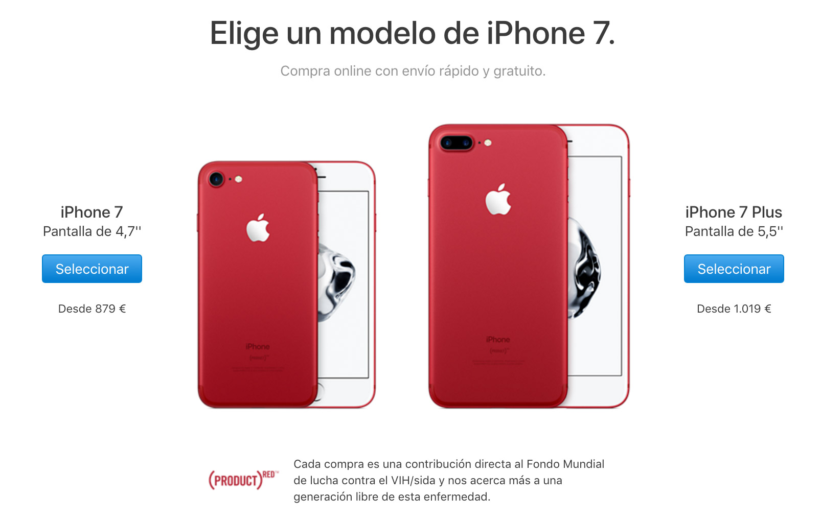 iPhone 7 PRODUCT(RED) ya a la venta