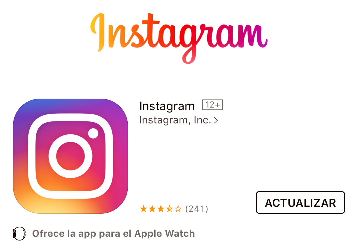 Actualización de Instagram disponible