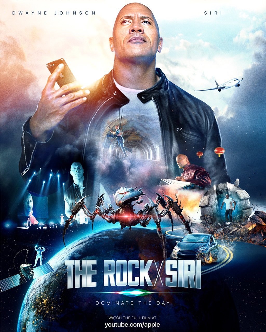 Cartel de la película de The Rock y Siri