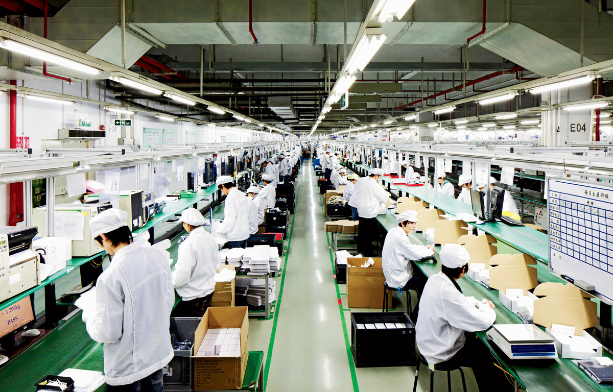 Interior of one of the factories of the iPhone