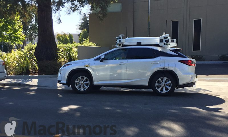 Apple car with a LIDAR system mounted on top
