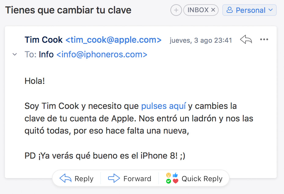 Email falso de Tim Cook